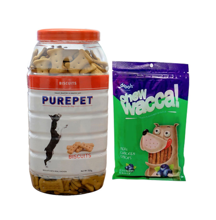 Drools Combo Pack of Purepet Chicken Biscuit/Cookie 500gm and Drools Chewwacca Blueberry Flavour Real Chicken Sticks