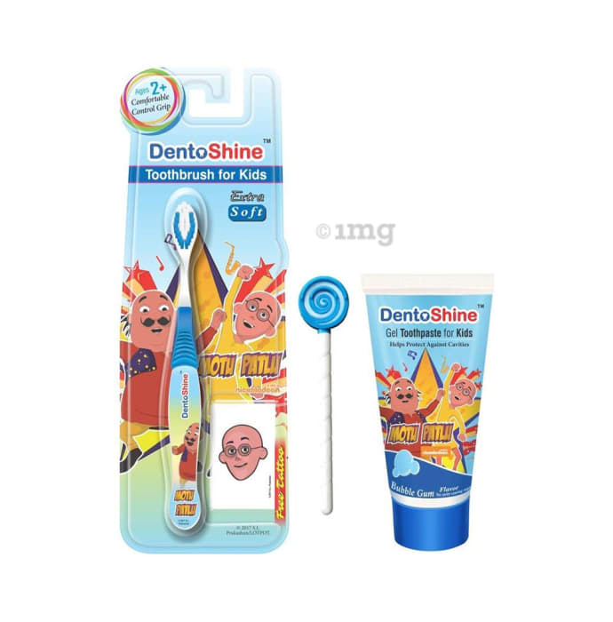 DentoShine Combo Pack of CC Grip Toothbrush for Kids, Lollipop Tongue Cleaner and Bubblegum Flavoured Toothpaste 80gm