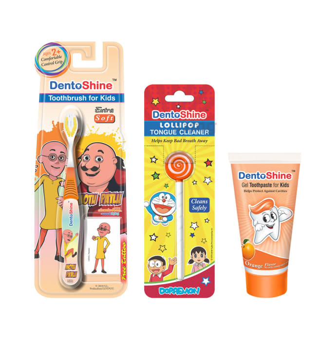 DentoShine Combo Pack of CC Grip Toothbrush for Kids, Lollipop Tongue Cleaner and Orange Flavoured Toothpaste 80gm