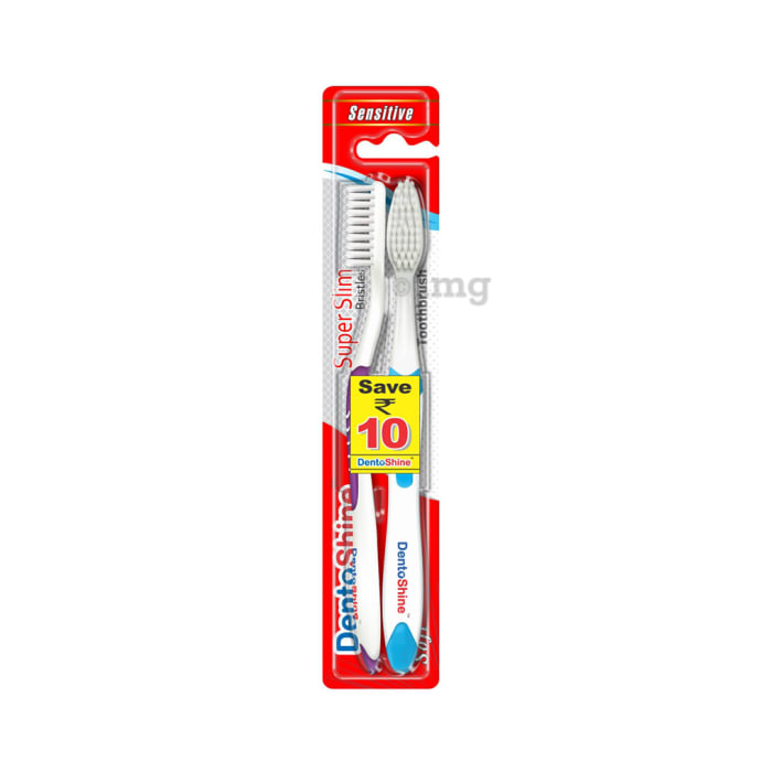 DentoShine Super Slim Toothbrush Blue and Purple