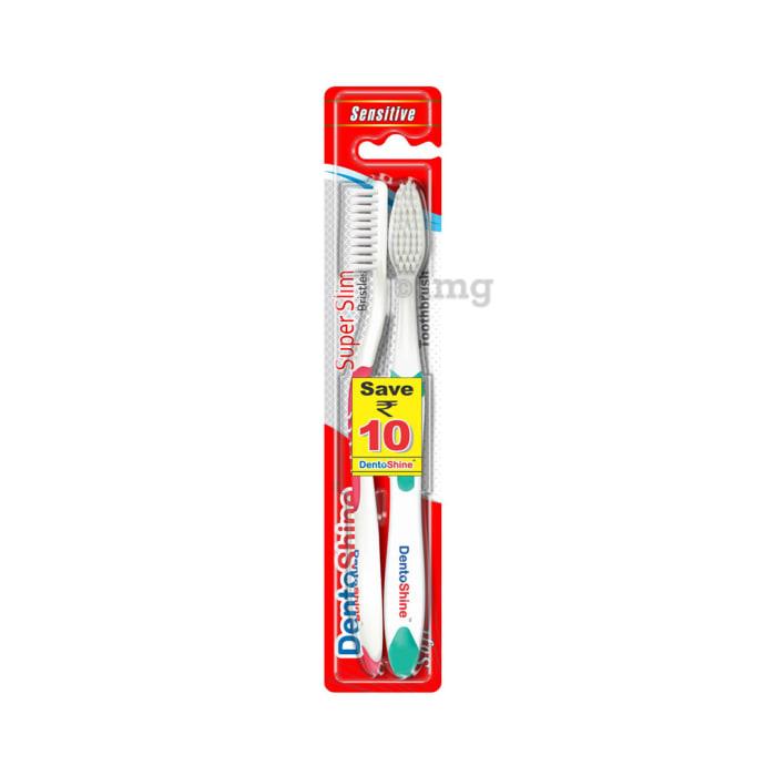 DentoShine Super Slim Toothbrush Pink and Green