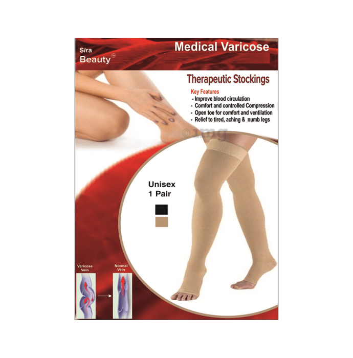 Sira Beauty Medical Vericose Grade I Pair of Stockings L Beige