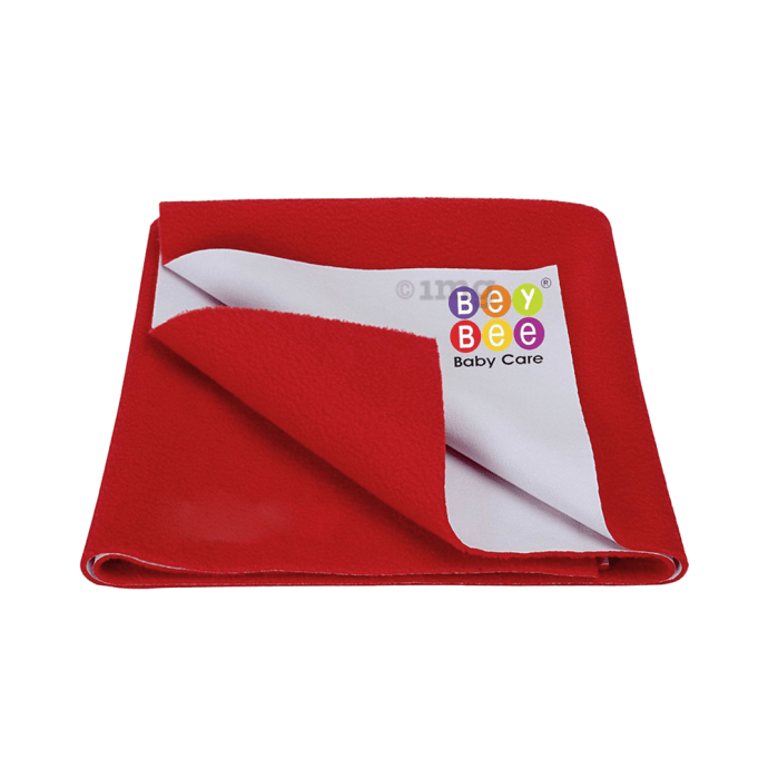 Bey Bee Waterproof Baby Bed Protector Dry Sheet for New Born Babies (70cm X 50cm) S Red