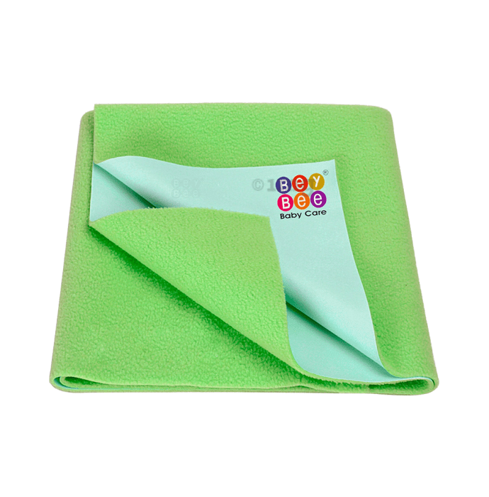 Bey Bee Waterproof Baby Bed Protector Dry Sheet for Toddlers (100cm X 70cm) M Light Green
