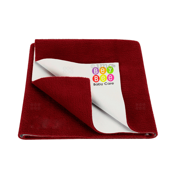 Bey Bee Waterproof Baby Bed Protector Dry Sheet for Toddlers (100cm X 70cm) M Maroon
