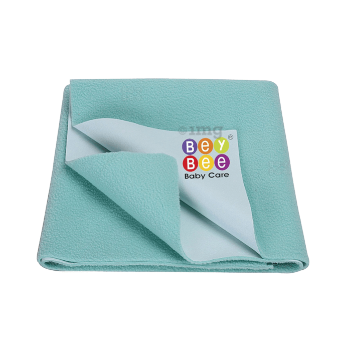 Bey Bee Waterproof Baby Bed Protector Dry Sheet for Toddlers (100cm X 70cm) M Sea Green