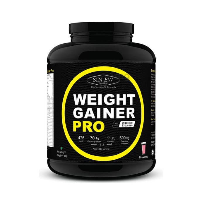 Sinew Nutrition Weight Gainer Pro with Digestive Enzymes Strawberry