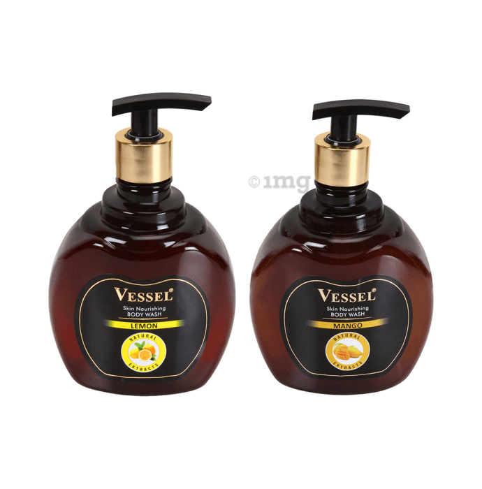 Vessel Combo Pack of Natural Extracts Skin Nourishing Body Wash Gel with Lemon and Mango (500ml Each)