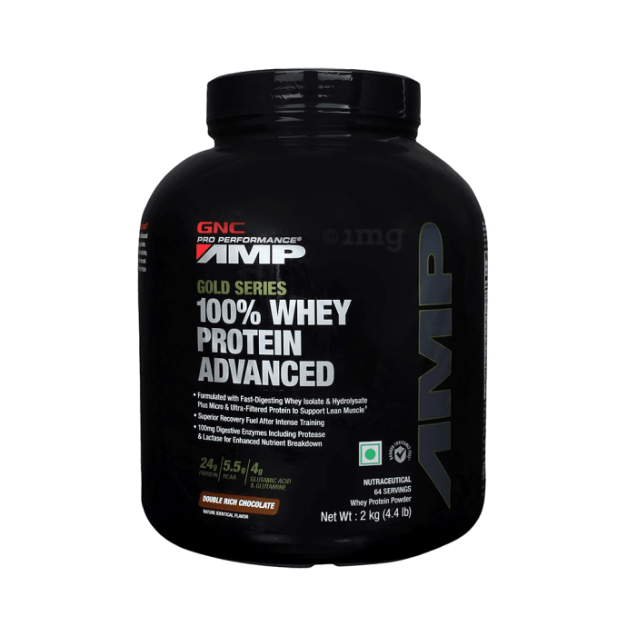 GNC Amp Gold 100% Whey Protein Advanced Powder Double Rich Chocolate