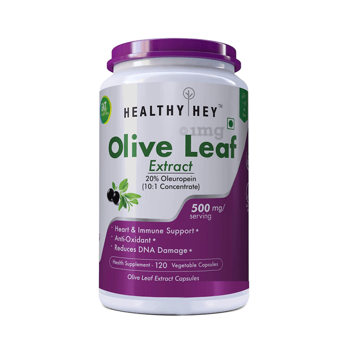 HealthyHey Olive Leaf Extract 500mg Vegetable Capsules