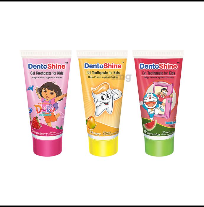 DentoShine Gel Toothpaste for Kids Strawberry Mango & Watermelon