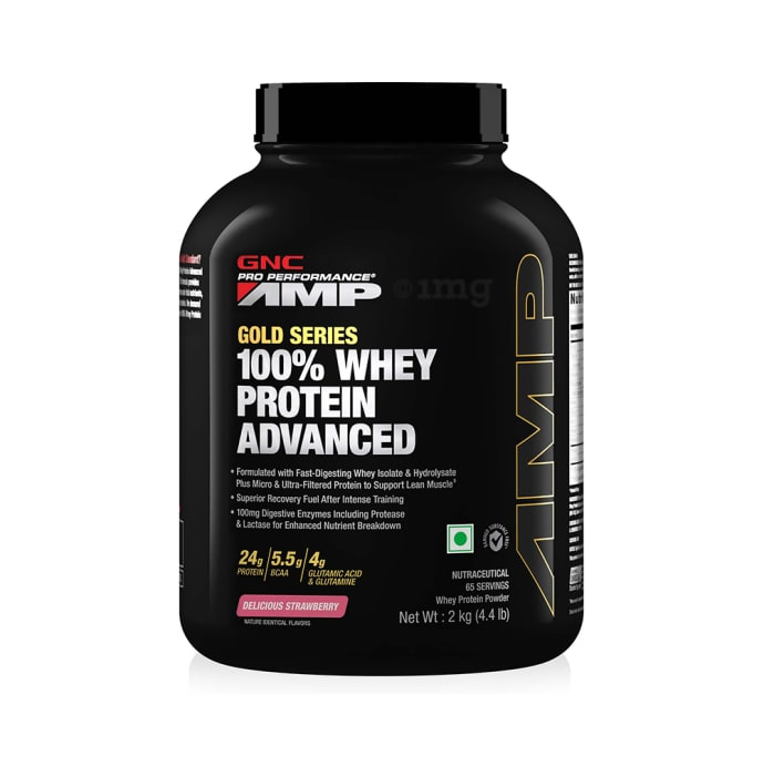 GNC Amp Gold 100% Whey Protein Advanced Powder Delicious Strawberry