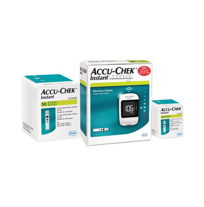 Accu-Chek Combo Pack of Instant Glucose Monitoring System (10 Test Strips Free) and Instant 50 Test Strips