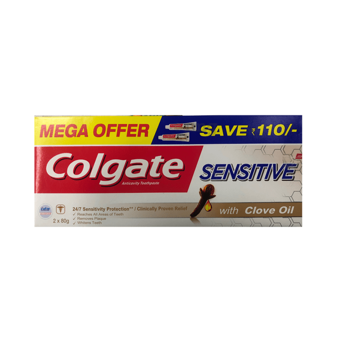 Colgate Sensitive Anticavity Toothpaste with Clove Oil (Mega Offer 2*80gm)