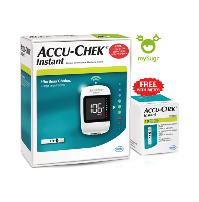 Accu-Chek Instant Combo Pack with Free 10 Test Strips, mySugr App and Diabetes Care Plan