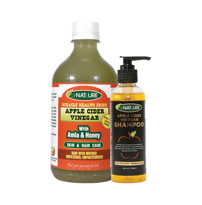 DrNATcURE Apple Cider Vinegar with with Amla & Honey with Apple Cider Vinegar Shampoo 200ml Free