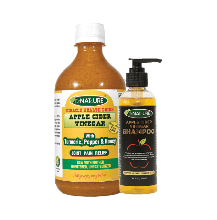 DrNATcURE Apple Cider Vinegar with with Turmeric, Pepper & Honey with Apple Cider Vinegar Shampoo 200ml Free