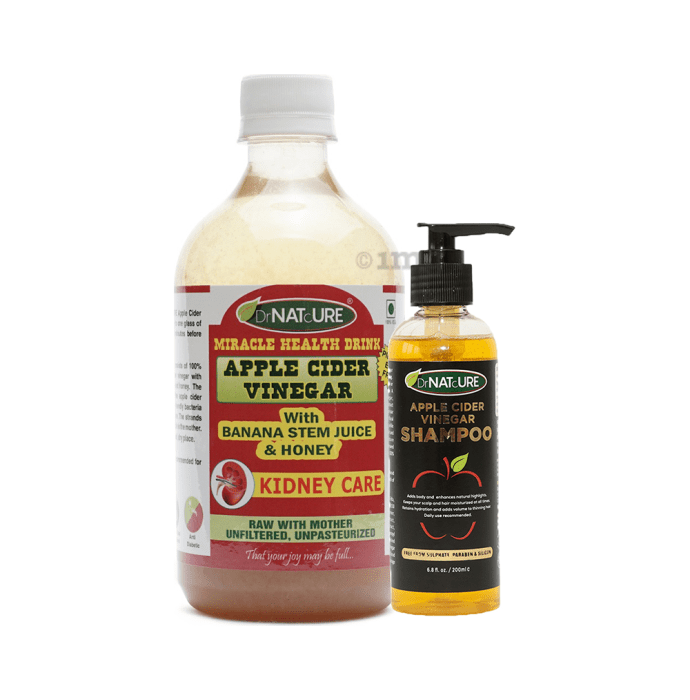 DrNATcURE Apple Cider Vinegar with with Banana Stem Juice & Honey with Apple Cider Vinegar Shampoo 200ml Free