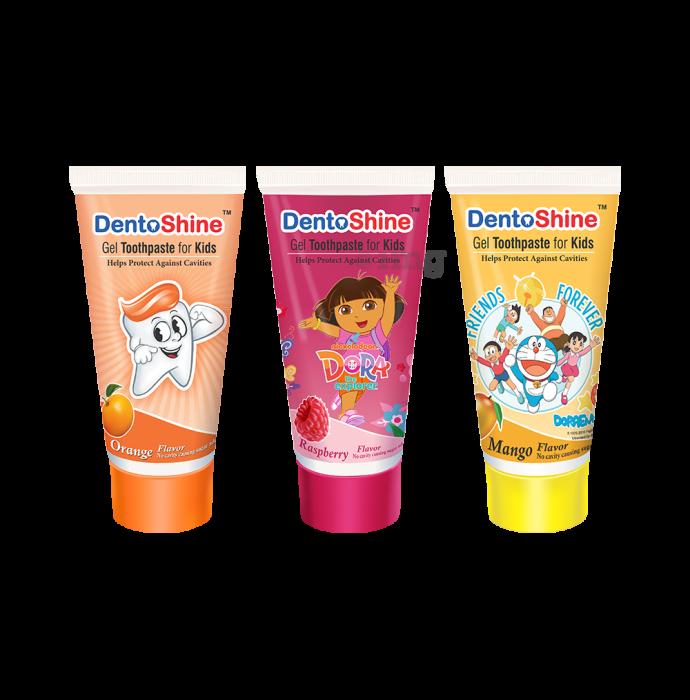 DentoShine Gel Toothpaste for Kids Orange Raspberry & Mango