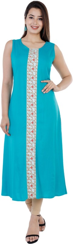 Women Self Design, Embellished, Floral Print, Solid Cotton Rayon Blend A-line Kurta Price in India