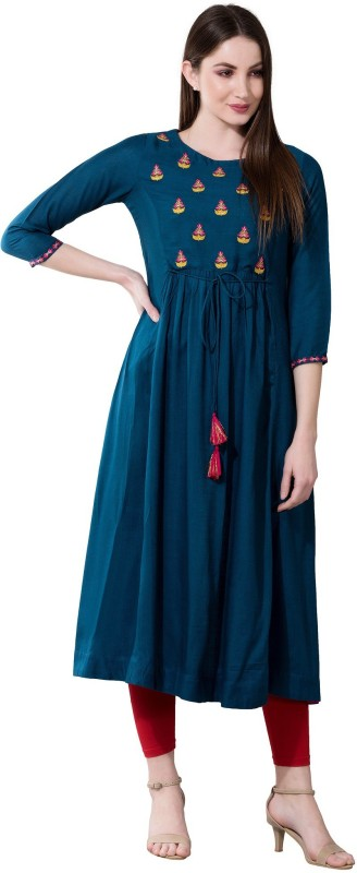 Women Embroidered Rayon Flared Kurta Price in India