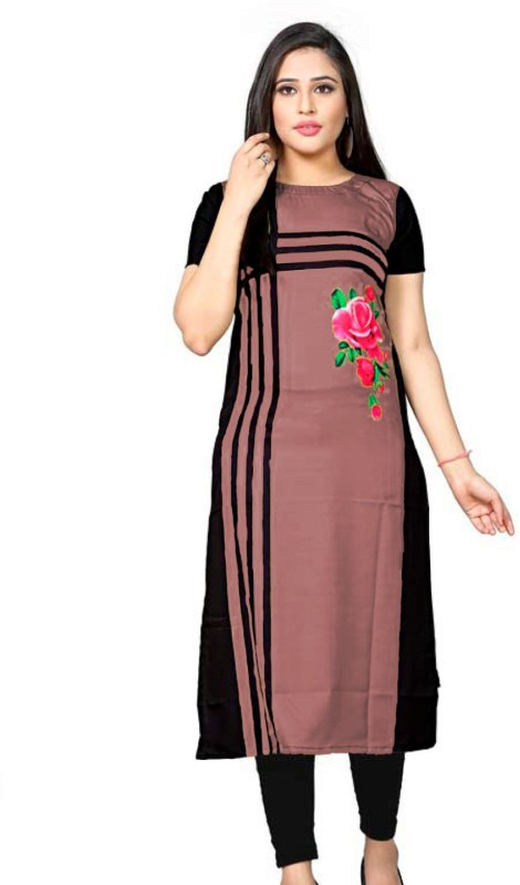 Women Floral Print Crepe Straight Kurta Price in India