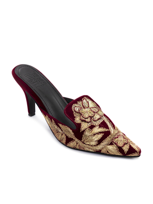 The Heel Hustle Victoria Maroon & Golden Mule Stilettos Price in India