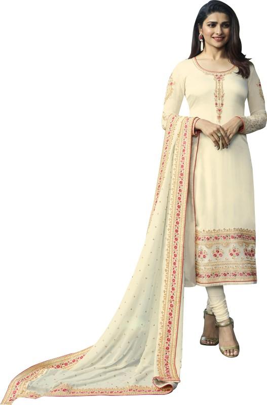 THE FASHION EDGE Satin Embroidered Kurta & Churidar Material Price in India