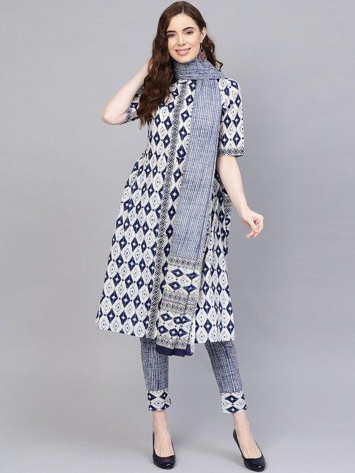 Jaipur Kurti Beige & Blue Cotton Printed Kurti Pant Set With Dupatta Price in India