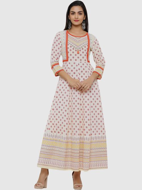 Juniper Off-White Printed A Line Kurta Price in India