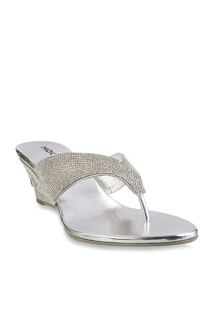 Mochi Silver Thong Wedges Price in India