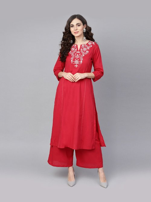 Bhama Couture Red Cotton Embroidered Kurti Palazzo Set Price in India