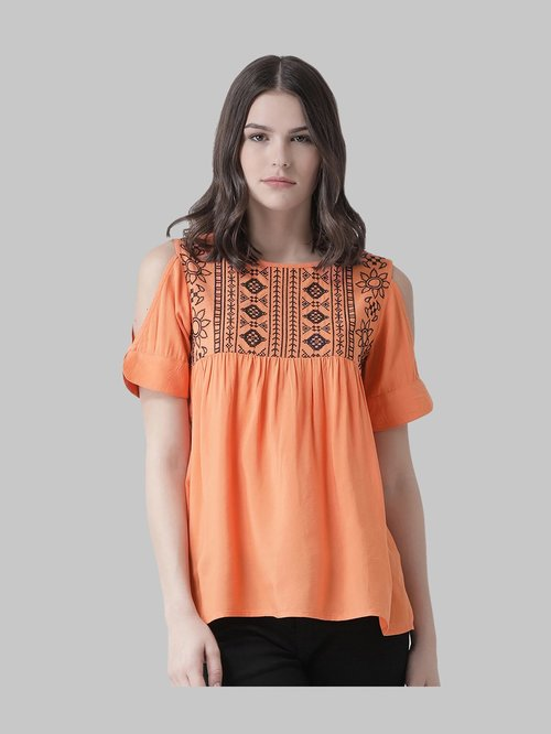 The Vanca Peach Embroidered Top Price in India