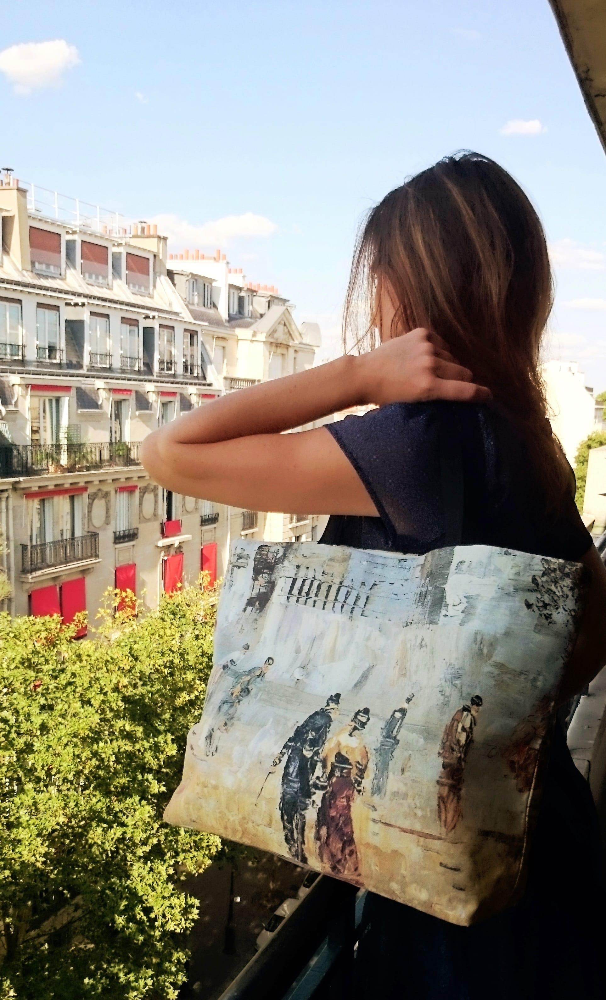 "Tote bag ""Walkers in Montmartre, impressionist painter's scene printed on canvas"