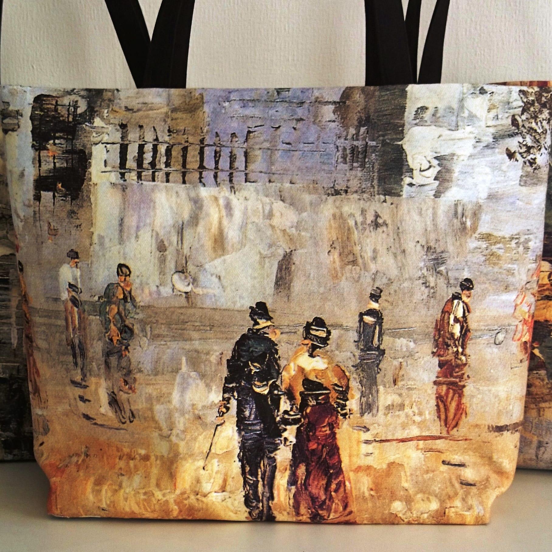 """Sac cabas """"Promeneurs à Montmartre"""", tableau de peintre impressionniste sur toile imprimée."""