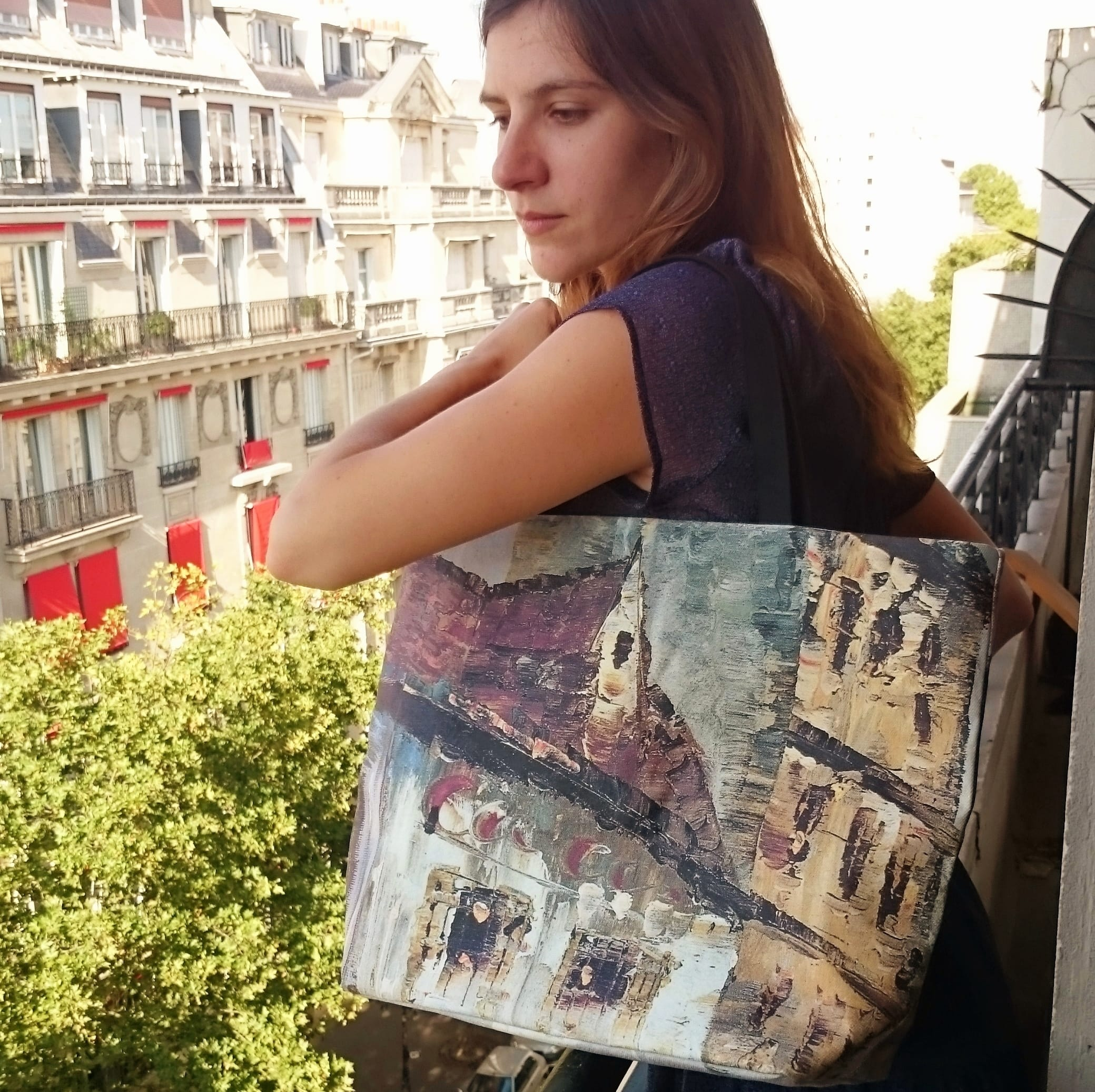Printed tote bags painting Montmartre in Paris.