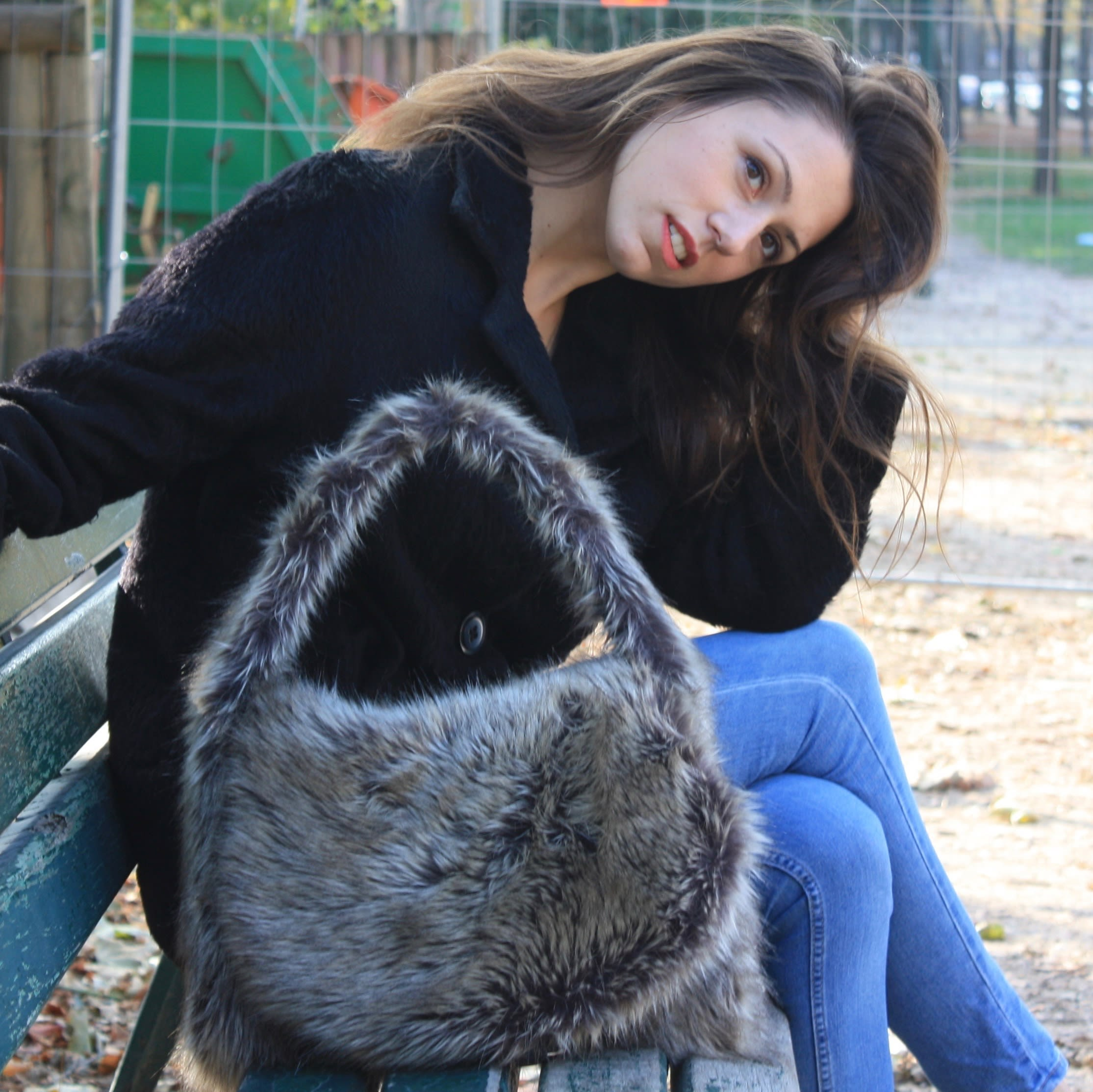 Silver stone fox faux fur large hobo bag.,