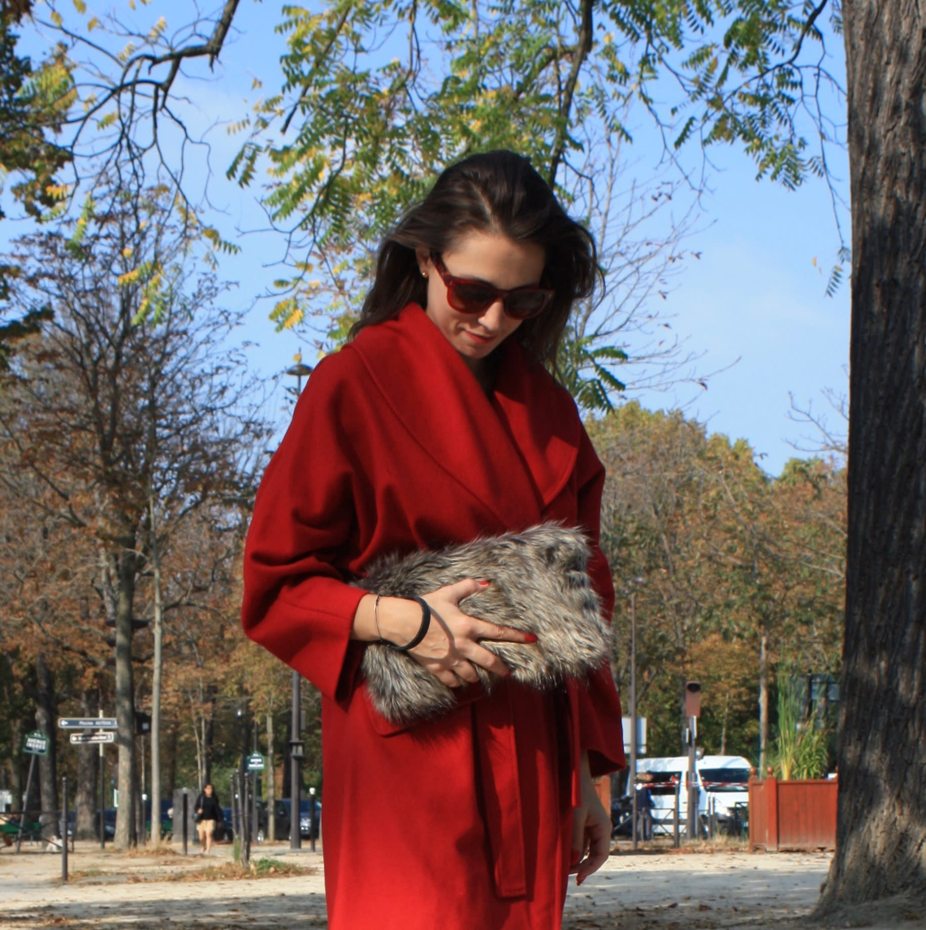 Silver stone fox faux fur clutch bag with removable wrislet.
