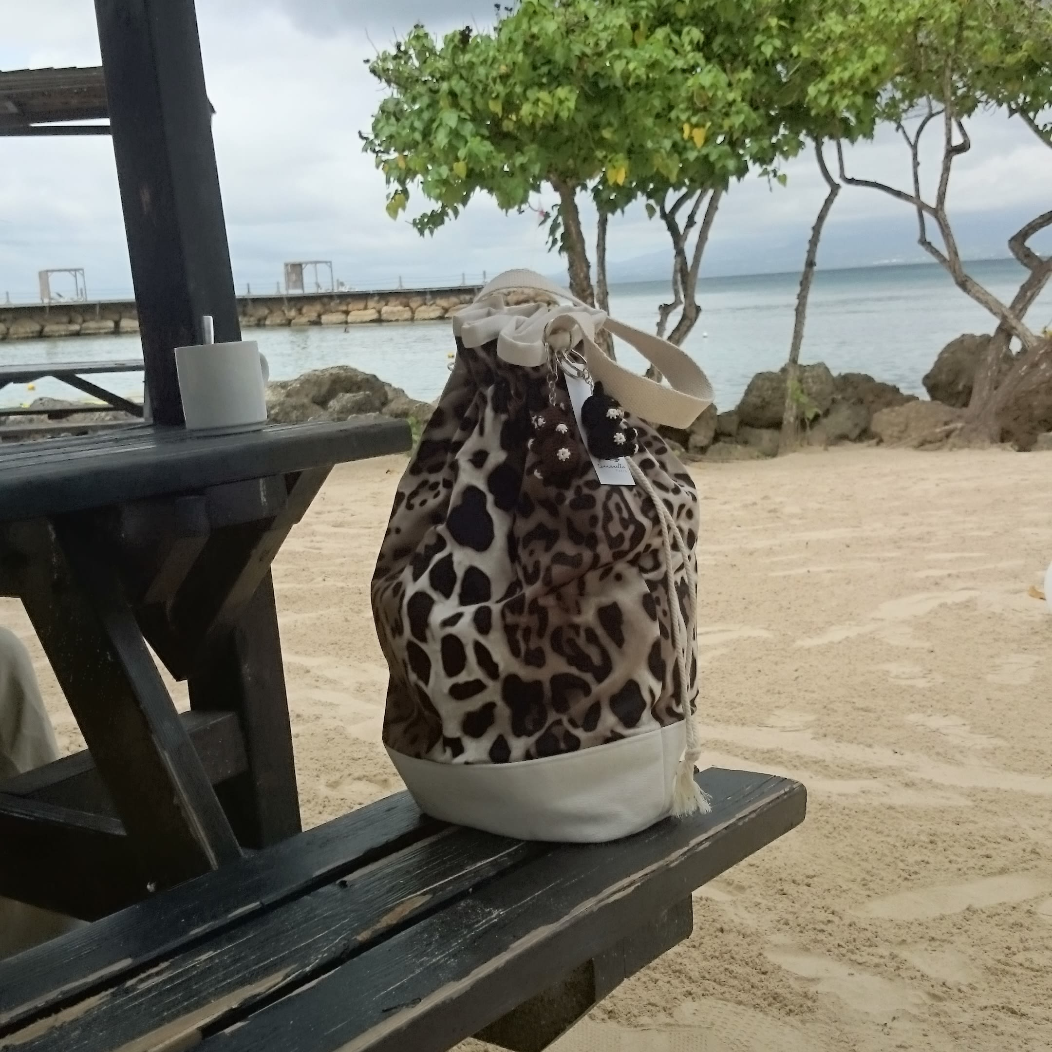 Leopard bucket bag, Leopard printed fabric large handbag, Shoulder bag