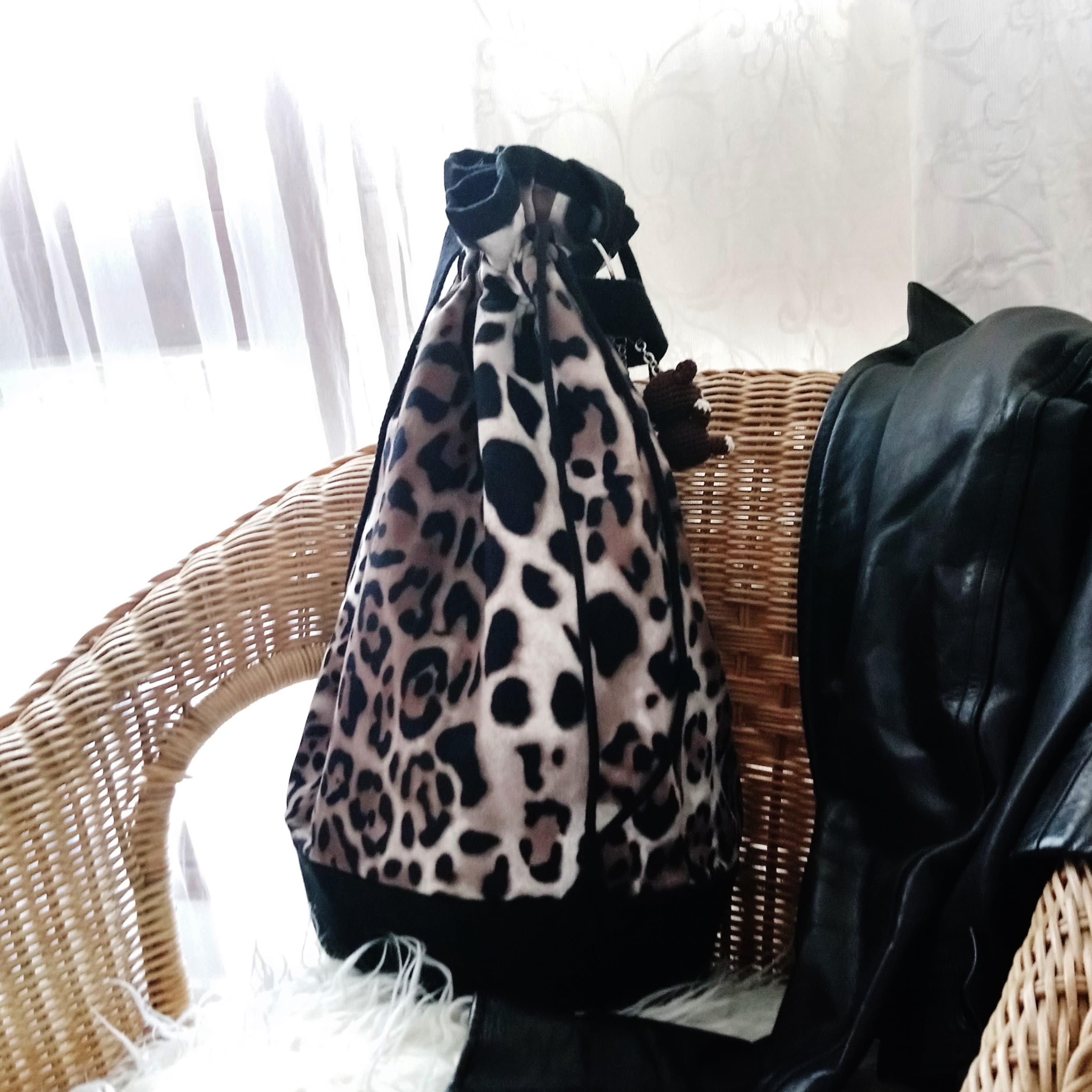 Leopard bag, Black and leopard printed fabric bucket bag,