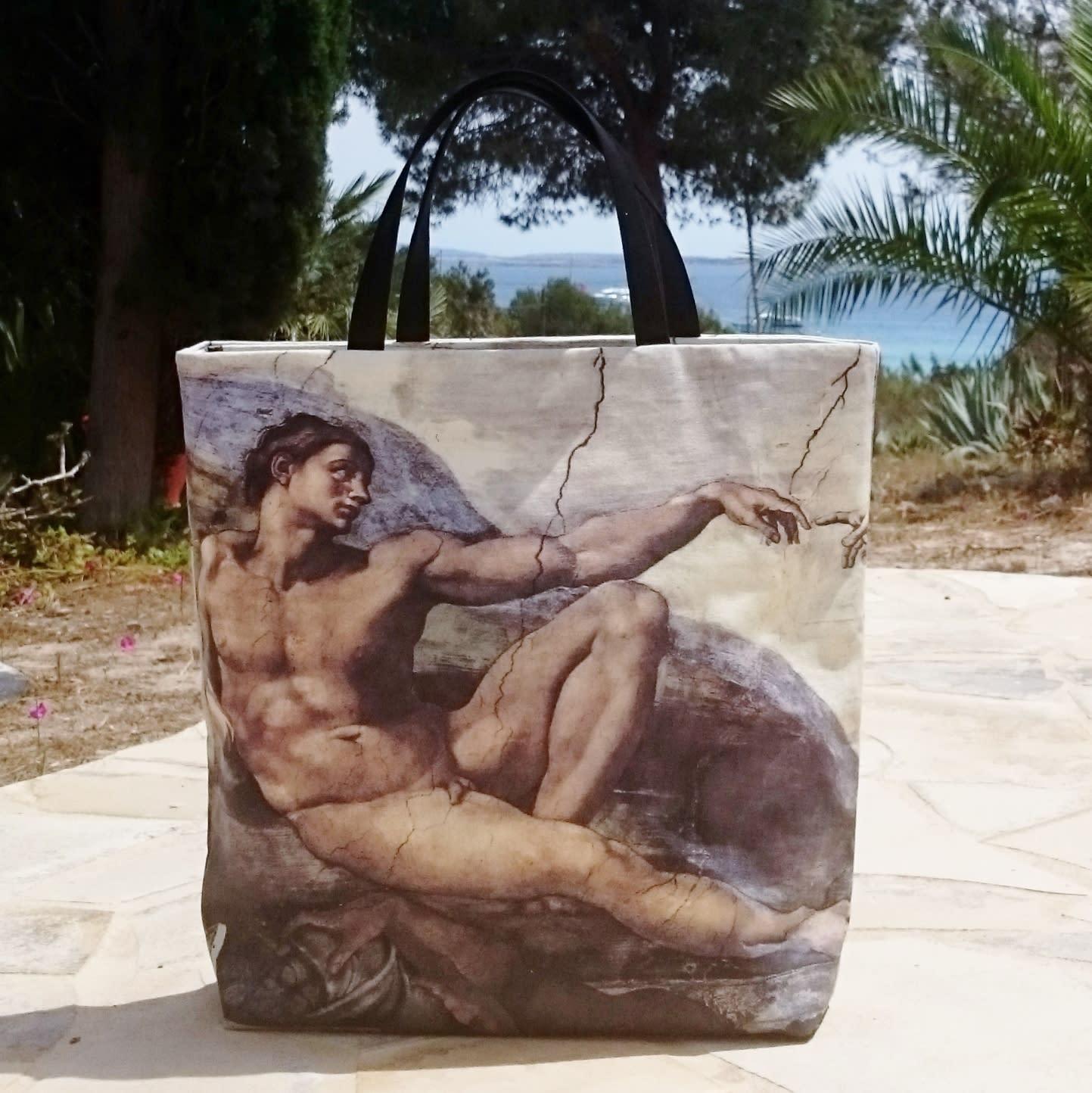Sac Cabas imprimé peinture Adam de Michel-Ange
