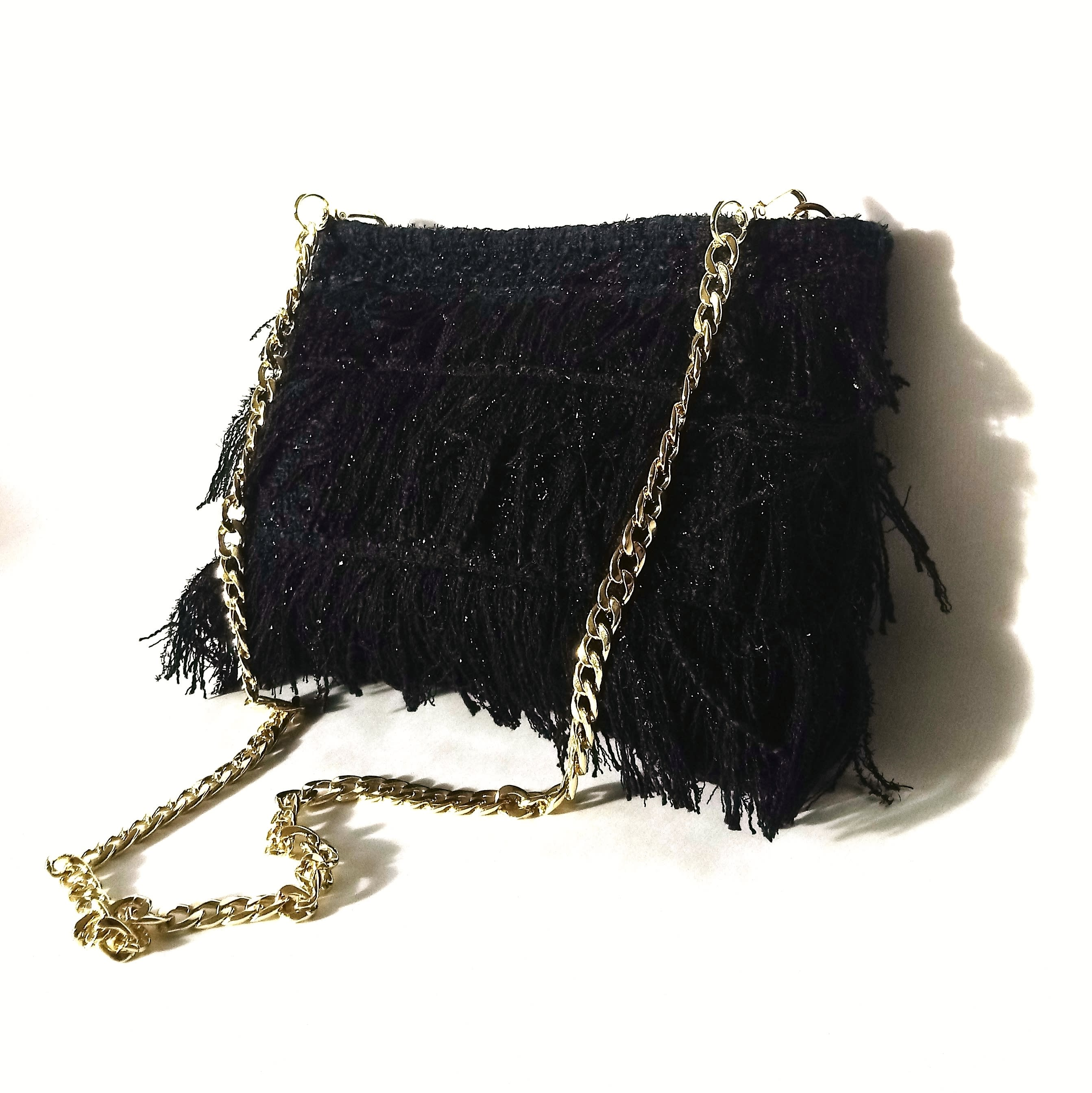 Black evening bag with fringe. Up dressed event clutch bag. Black tweed couture with glossy threads purse.