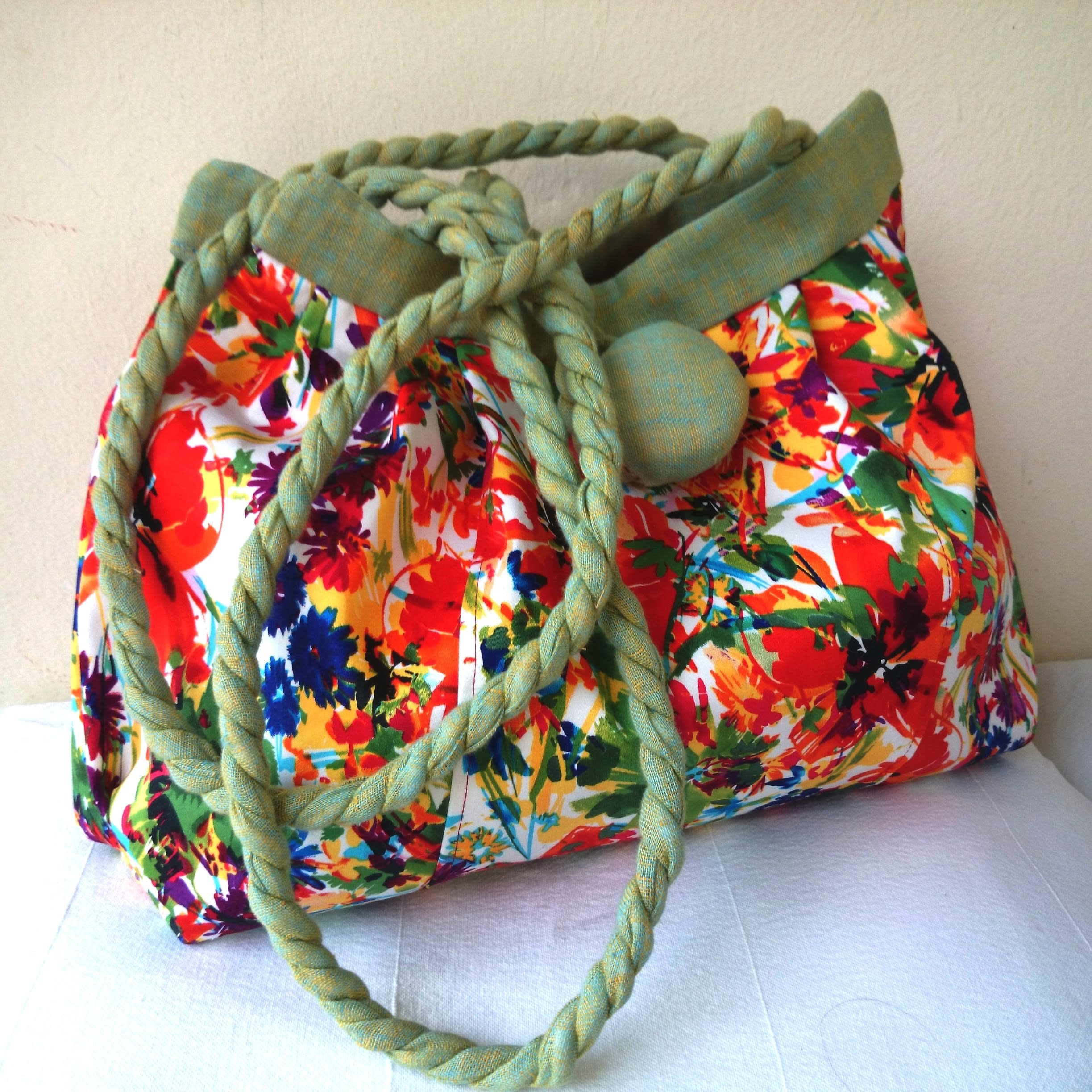 Flower bag, Trendy and casual chic light green and red flowers hand bag - shoulder bag.