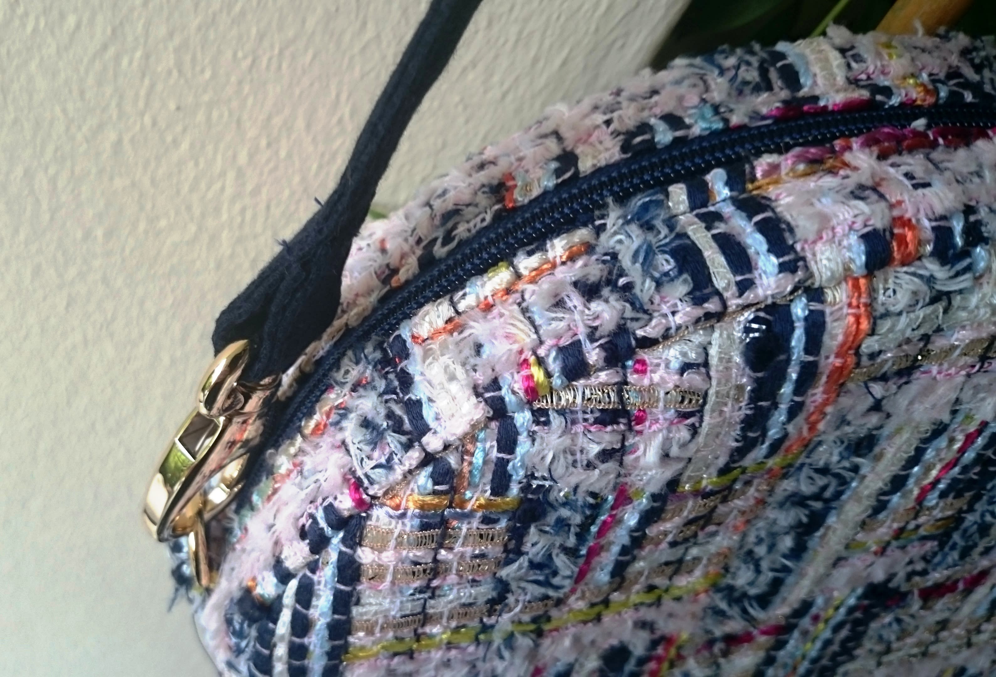 Crossbody bag, navy blue, pink... luxury tweed round bag. Trendy, casual chic purse. Fashion circular handbag made in France