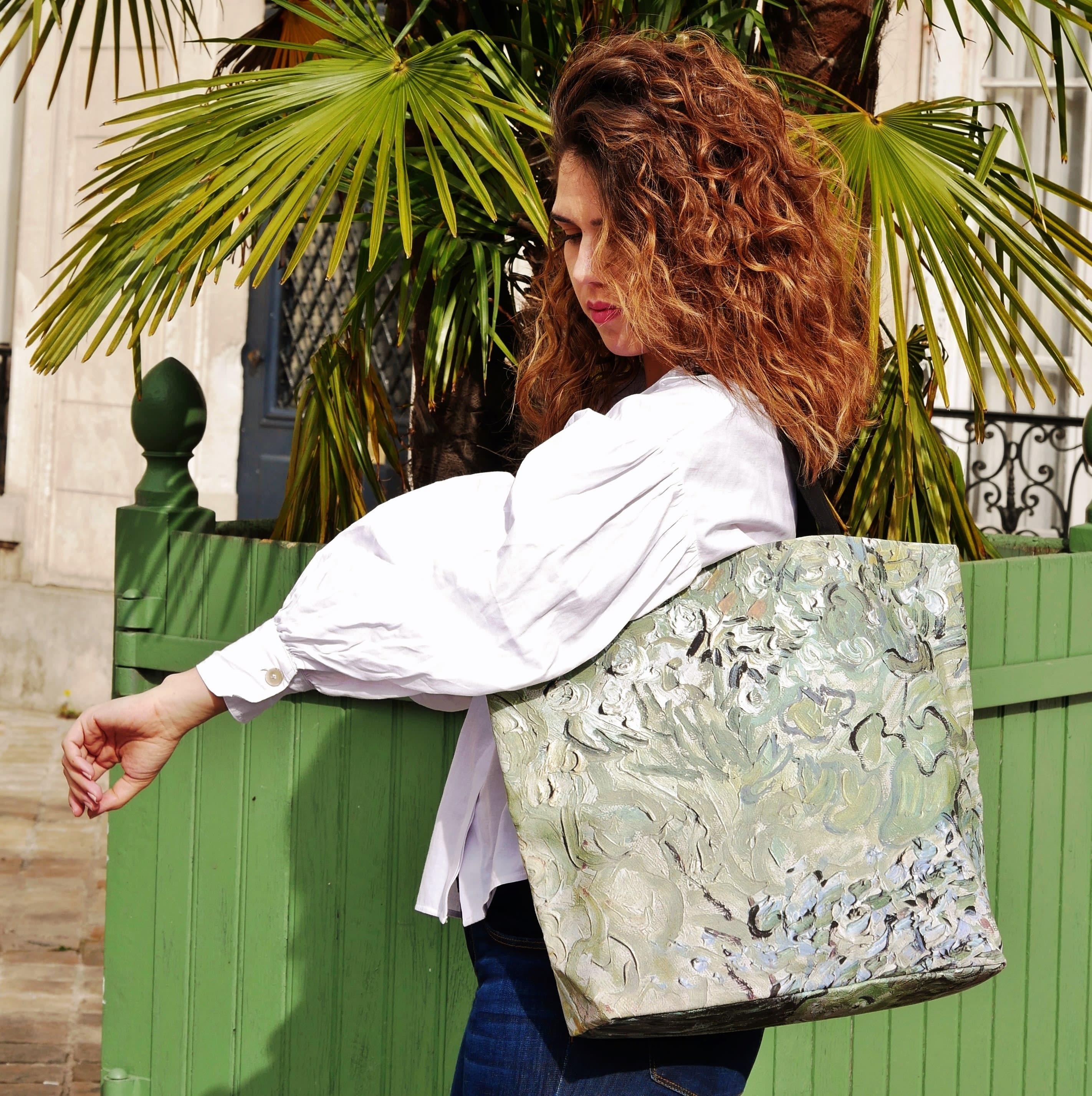 """Cabas imprimé, tableau de Van Gogh """"Mademoiselle Gachet dans son jardin"""""""