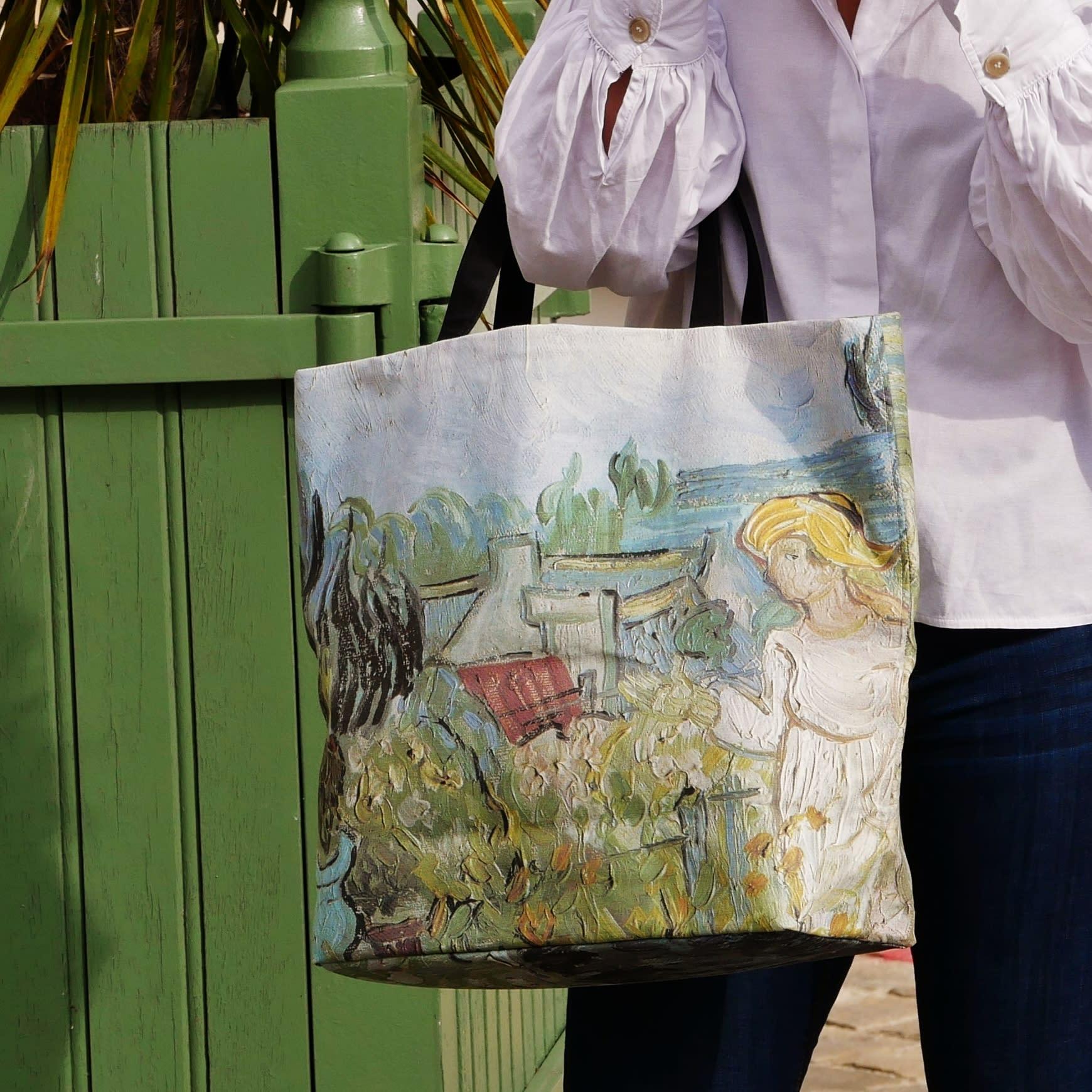 "Printed tote bags, Van Gogh painting ""Mademoiselle Gachet in the garden"""