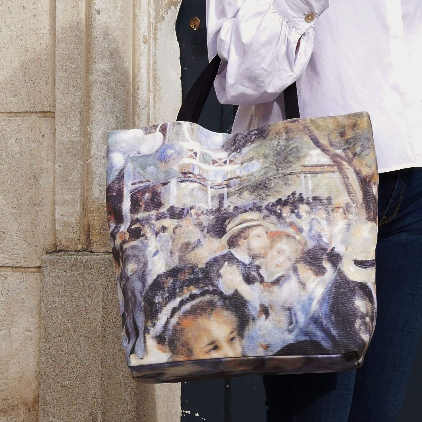Printed tote bag , beach tote, Auguste Renoir painting copy, casual chic bag made in France.