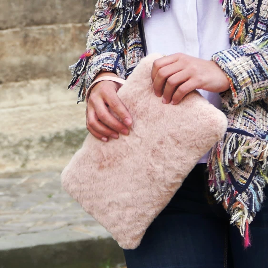 Pink Clutch. Light pink padded faux fur clutch with removable wrislet. Fashion designer bag.  Closing with zipper ended with pompom