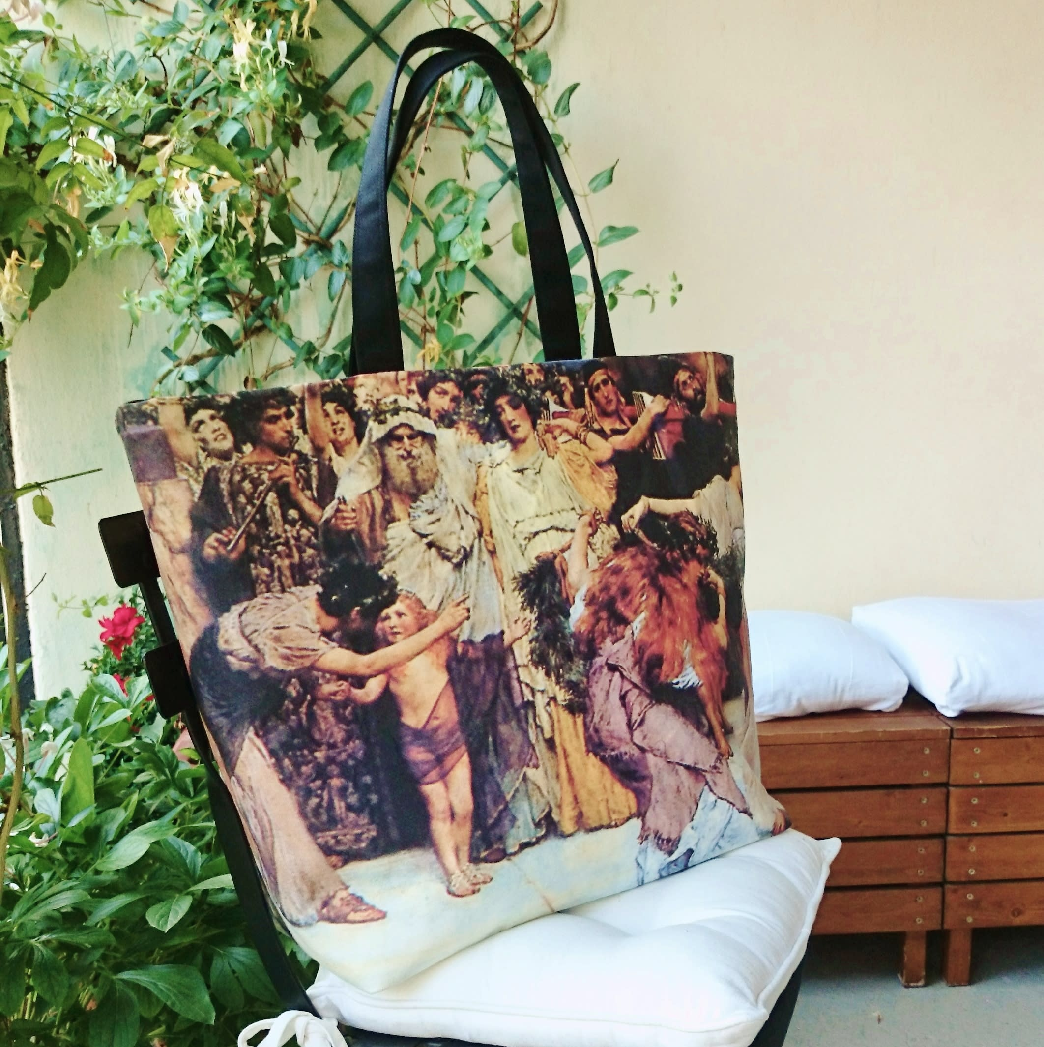 "Large tote bag , ""A dedication to Bacchus"", pictured, painting canvas bag, awesome beach bag."