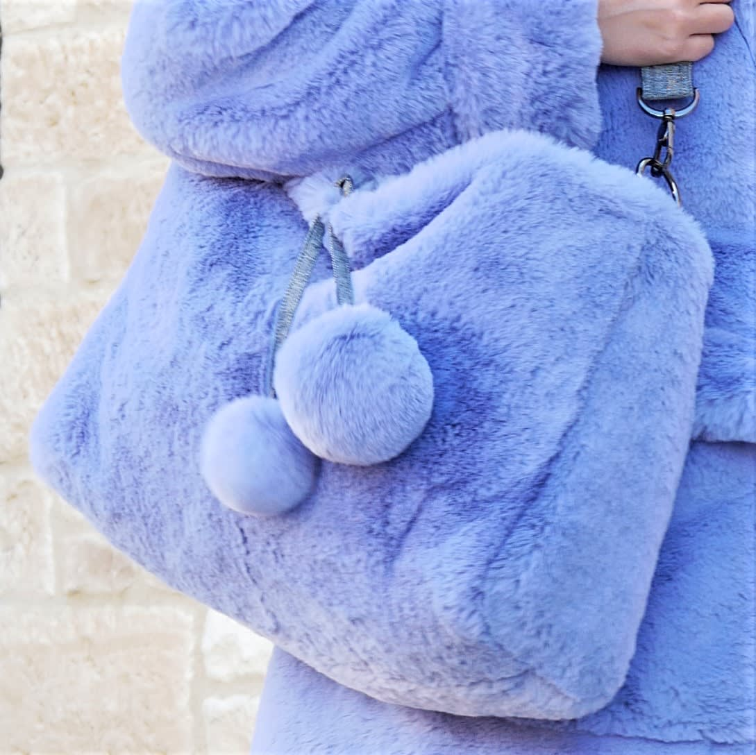 Lavender blue bag, Large faux fur shoulder bag, Purple crossbody bag. Luxury fake fur soft bag, Slouchy purse bag.